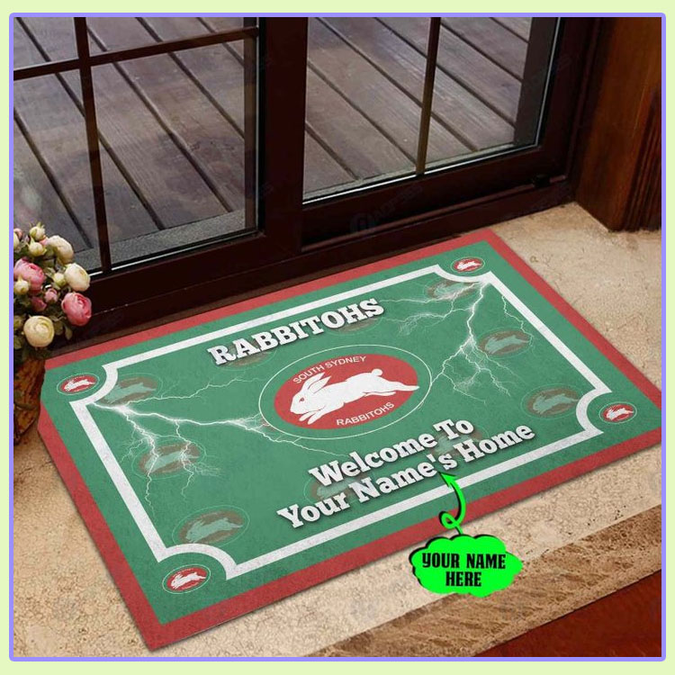 South Sydney Rabbitohs Personalized welcome to home Doormat1
