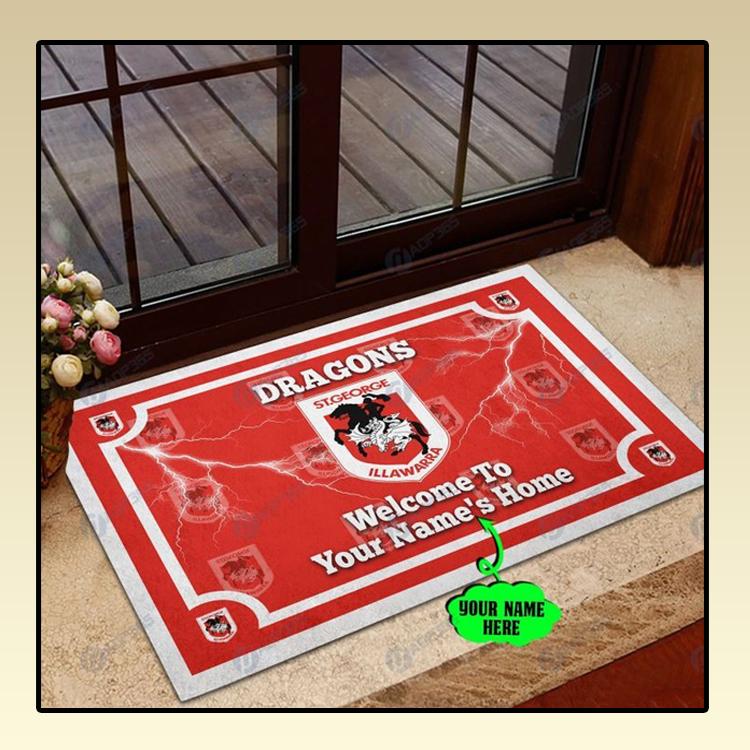 St George Illawarra Dragons welcome to home custom name doormat2