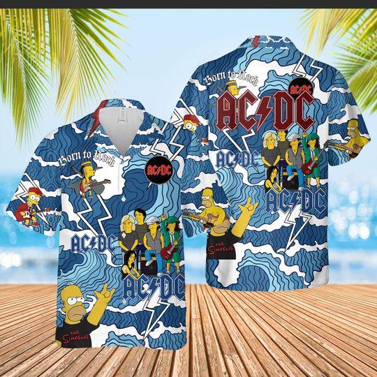 The Simpson ACDC hawaiian shirt