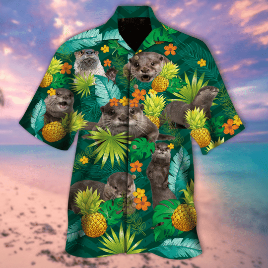 Tropical pineapple otter hawaiian shirt