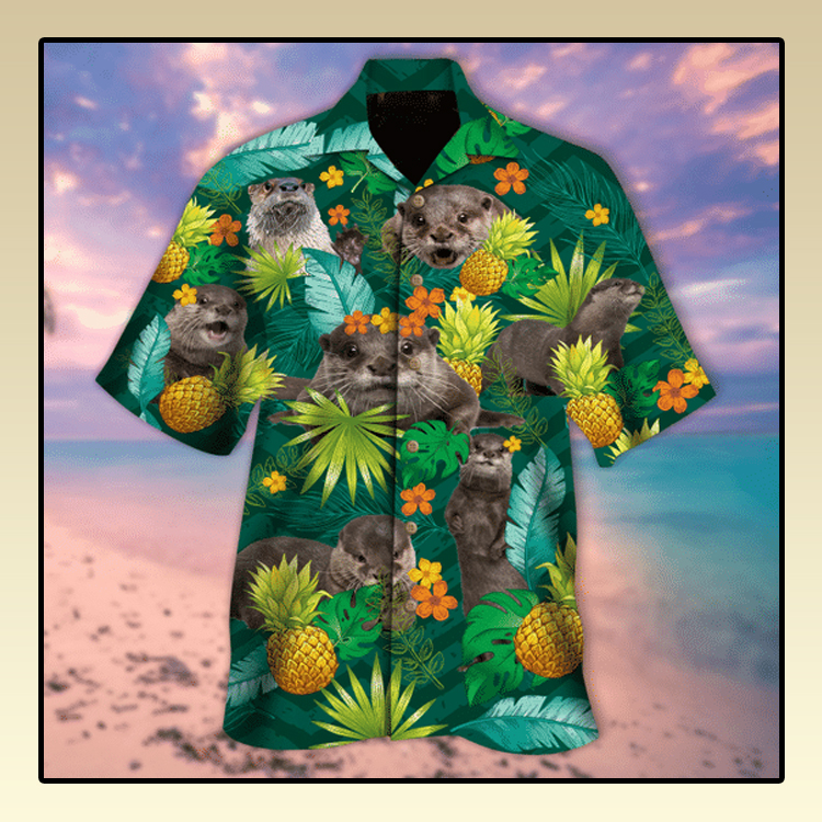 Tropical pineapple otter hawaiian shirt2