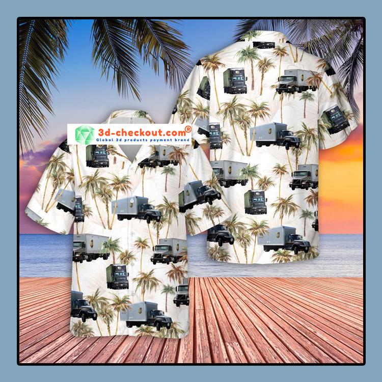 UPS Freight Truck Hawaiian Shirt1