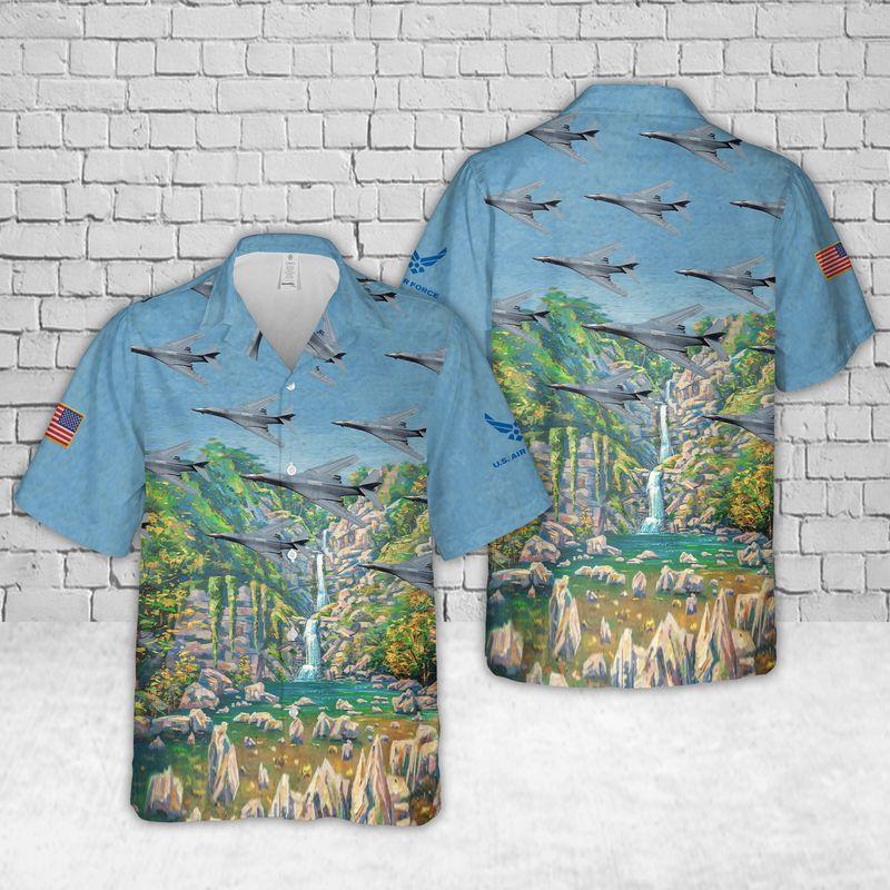 US Air Force Rockwell B 1 Lancer Hawaiian Shirt