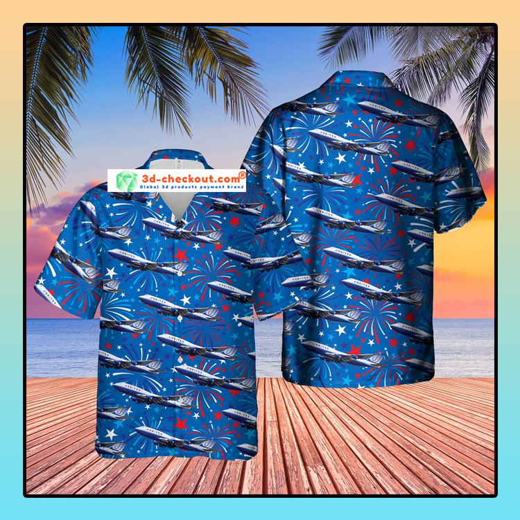 US Airlines 4 Boeing 747 422 4th of July Hawaiian Shirt
