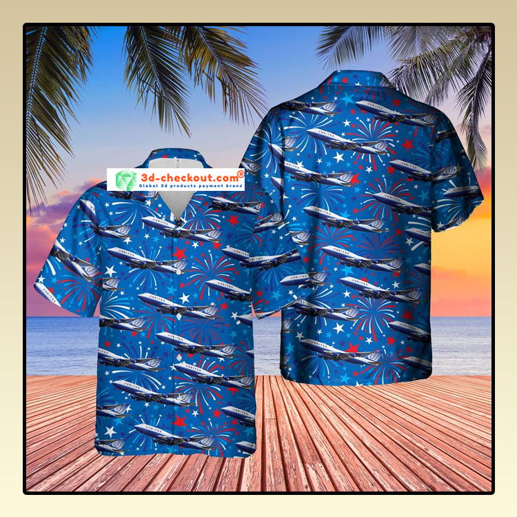 US Airlines 4 Boeing 747 422 4th of July Hawaiian Shirt2