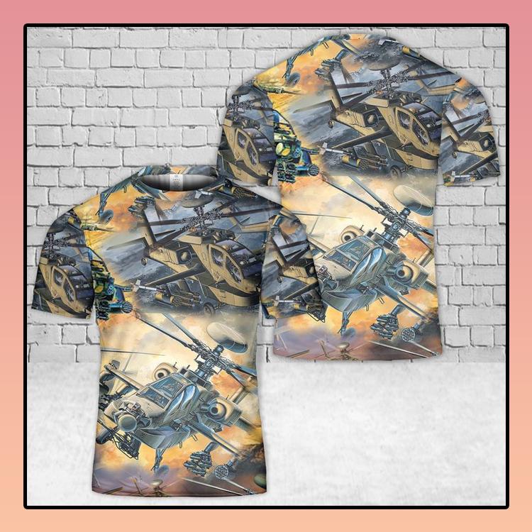 US Army Boeing AH 64 Apache 3D T Shirt3