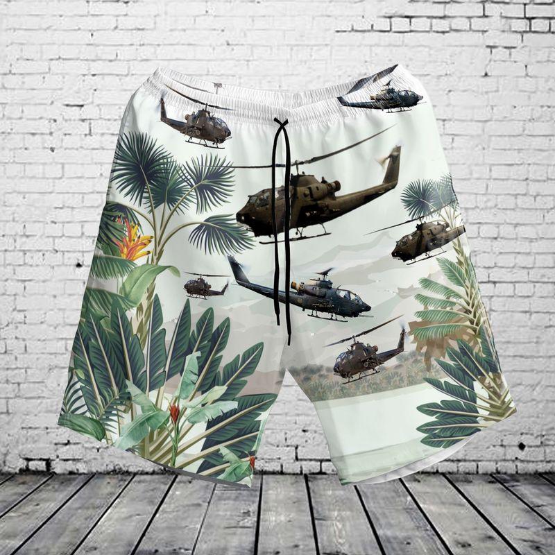 Us Army Ah 1F Cobra Hawaiian Shirt . Short1