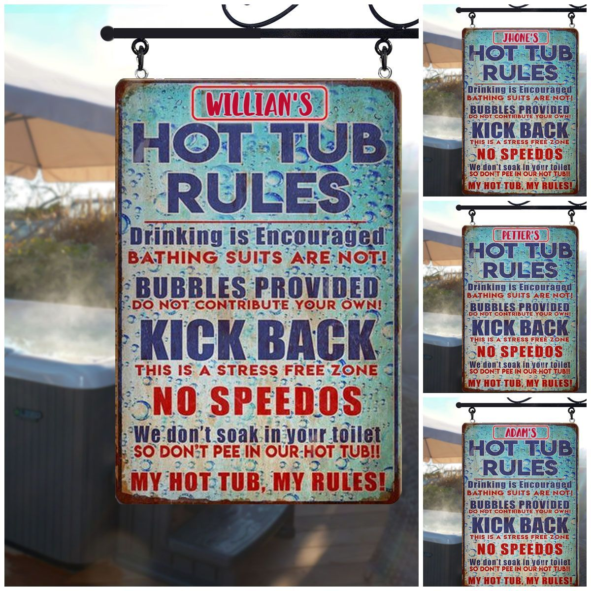 Vintage bubble background hot tub rules custom name metal sign2