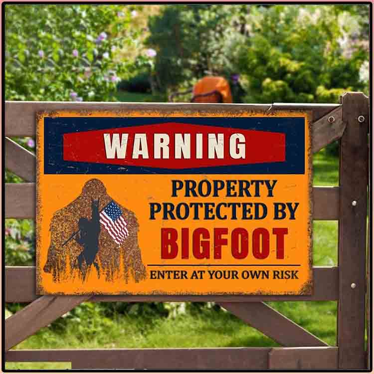 Warning Property Protected By Bigfoot Enter At Your Own Risk Metal Sign3 1