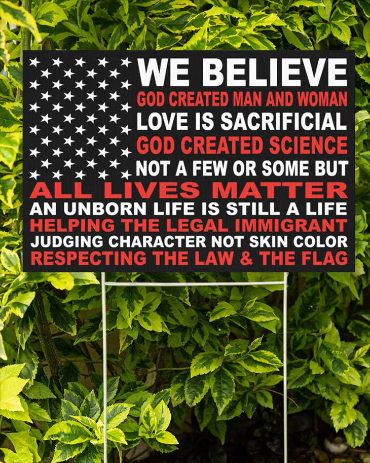 We Believe God Created Man And Woman Yard Signs2
