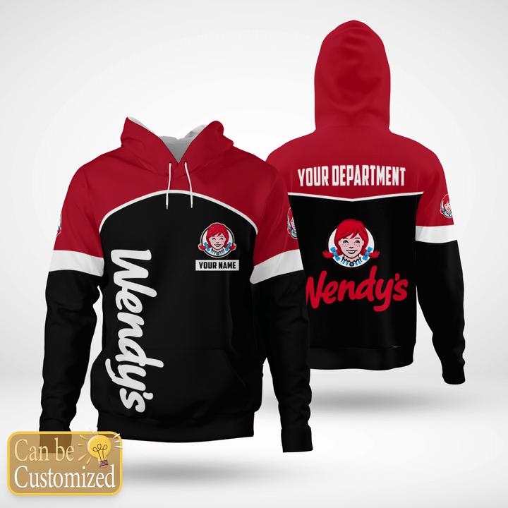Wendys custom name and department 3d hoodie