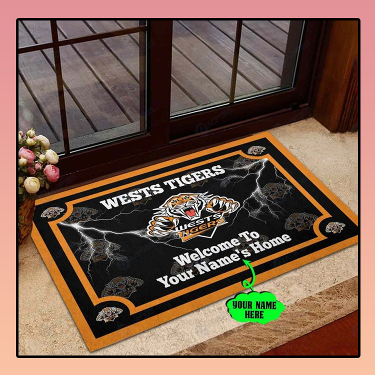Wests tigers welcome to home custom name doormat2