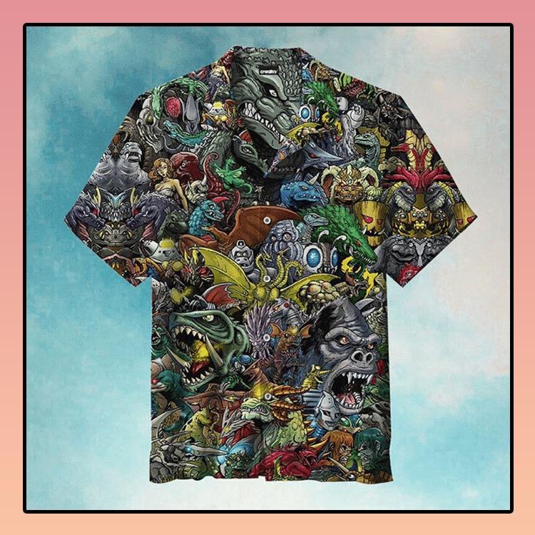World of godzilla hawaiian shirt3