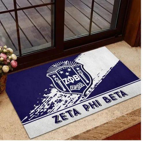 Zeta Phi Beta 1920 Emblem Blue and White Doormat