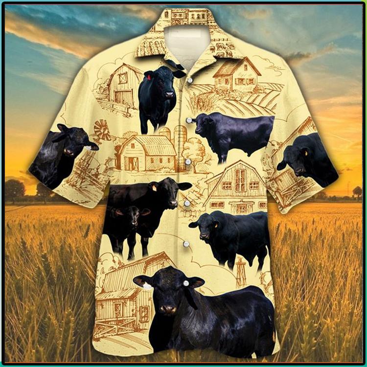 Black Angus Cattle Lovers Farm Hawaiian Shirt1
