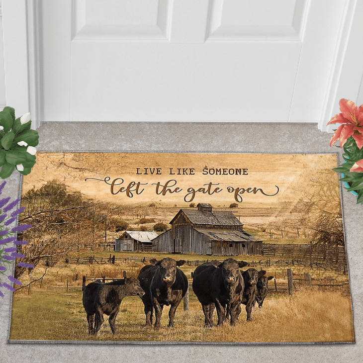 Black Angus Live Like Someone Left The Gate Open Doormat 1