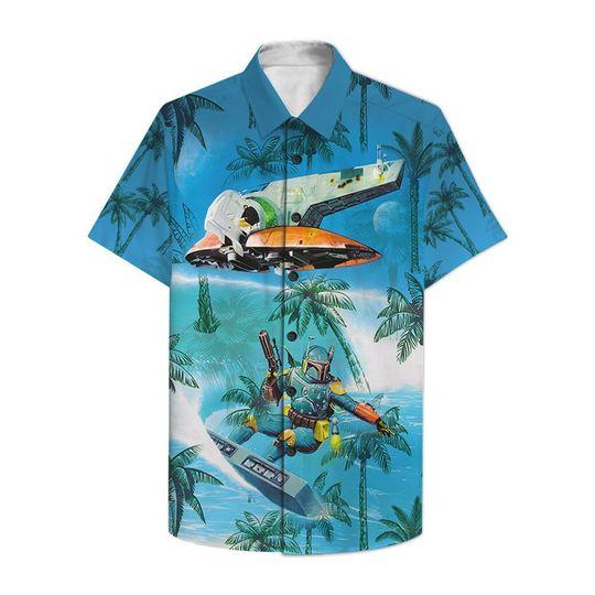 Dadalorian Surfing Hawaiian Shirt