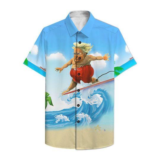 Donald Trump surfing hawaiian shirt