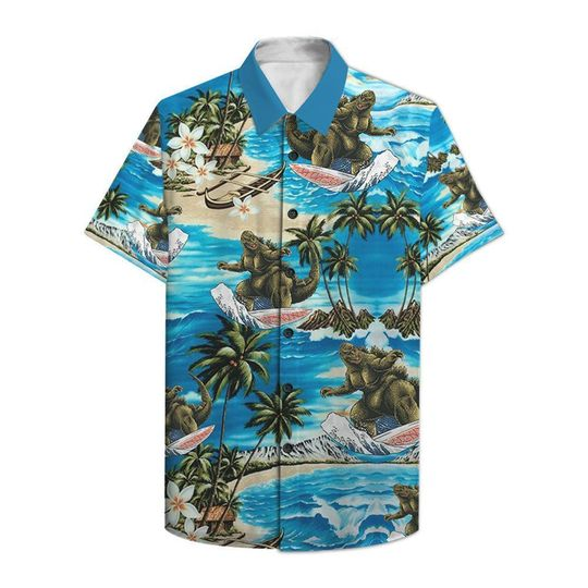 Godzilla surfing hawaiian shirt