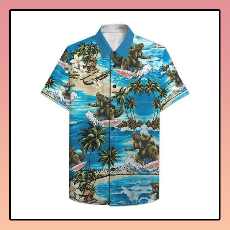 Godzilla surfing hawaiian shirt2