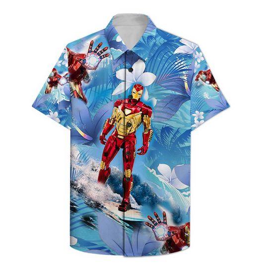 Iron Man Surfing Hawaiian Shirt
