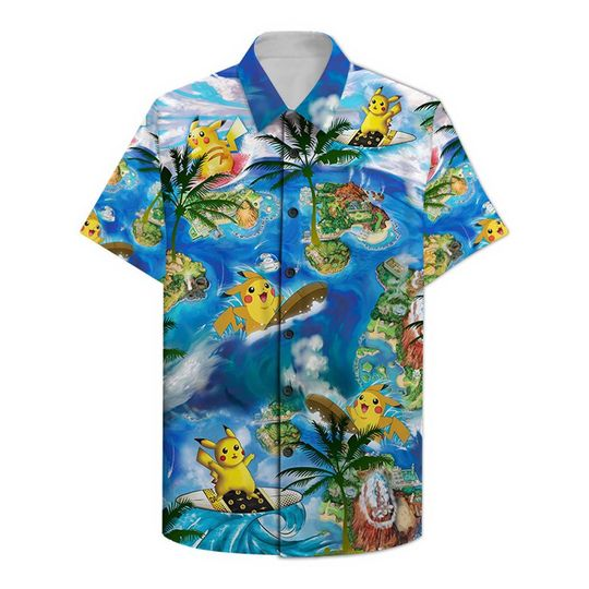 Pikachu surfing Hawaiian Shirt