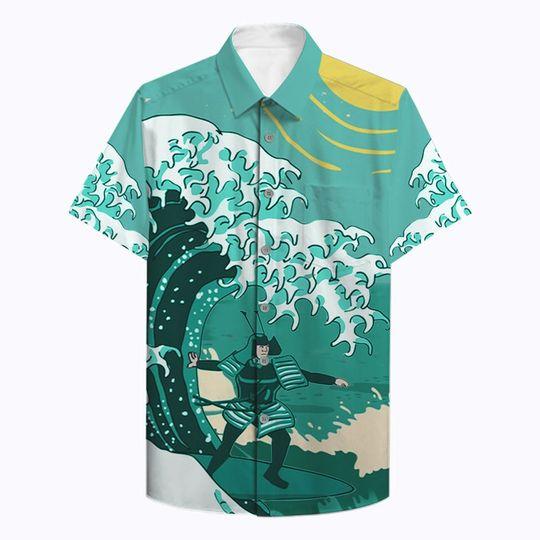 Samurai Surfing Hawaiian Shirt