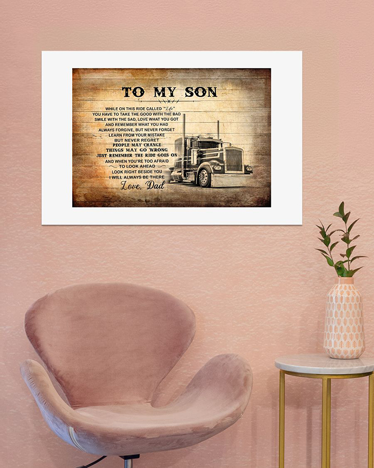 To My Son Love Dad Truck Driver Canvas And Poster3