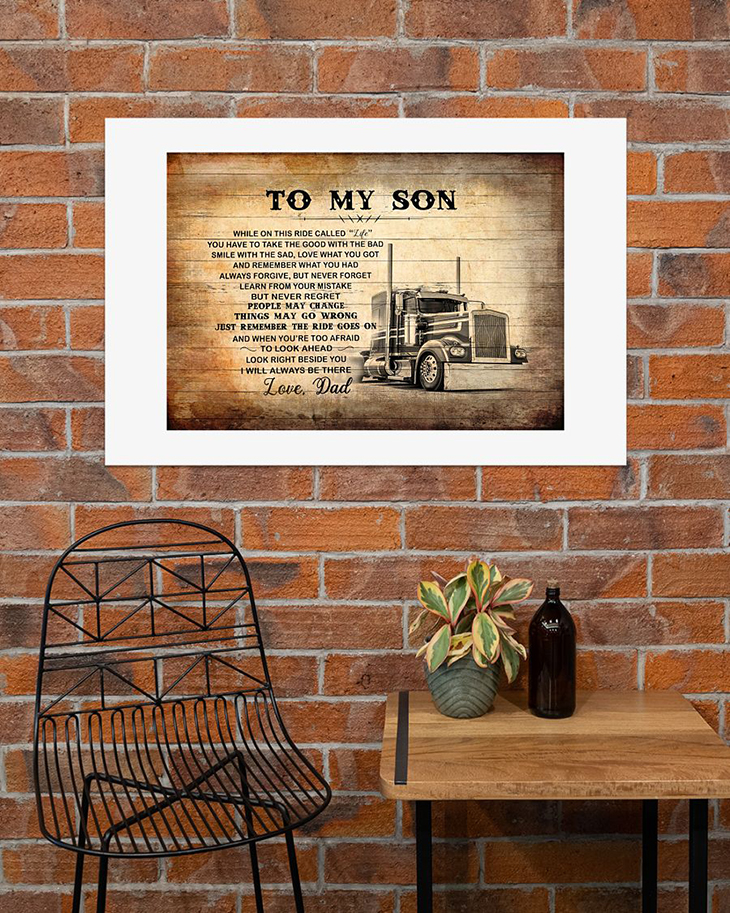 To My Son Love Dad Truck Driver Canvas And Poster4