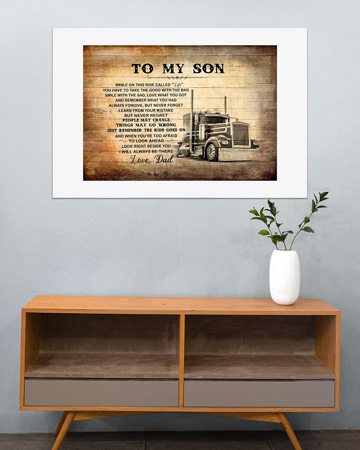 To My Son Love Dad Truck Driver Canvas And Poster5