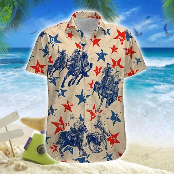 America Team Roping Hawaiian Shirt Short