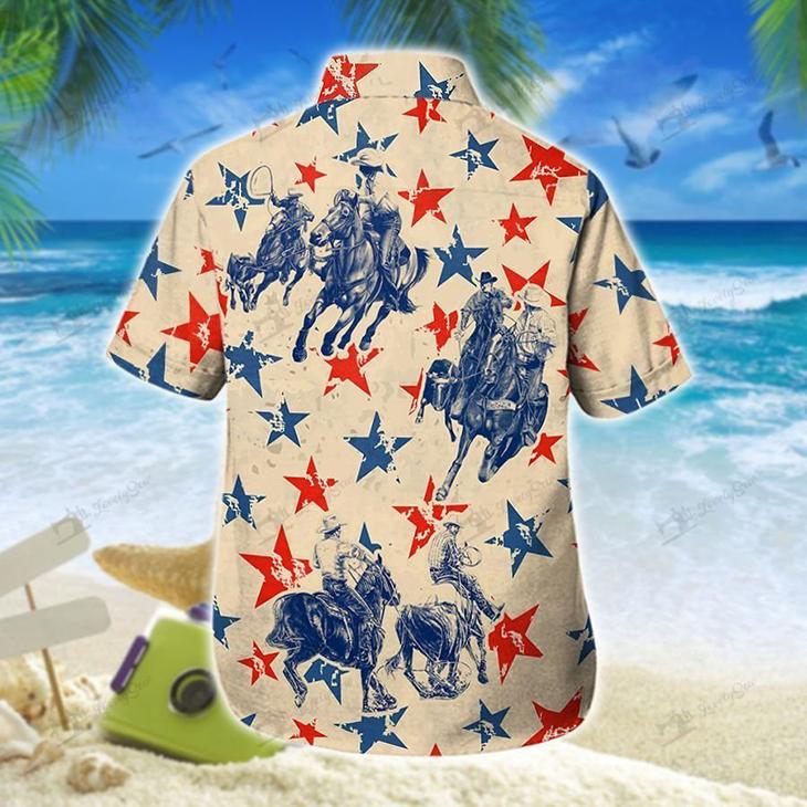 America Team Roping Hawaiian Shirt Short1
