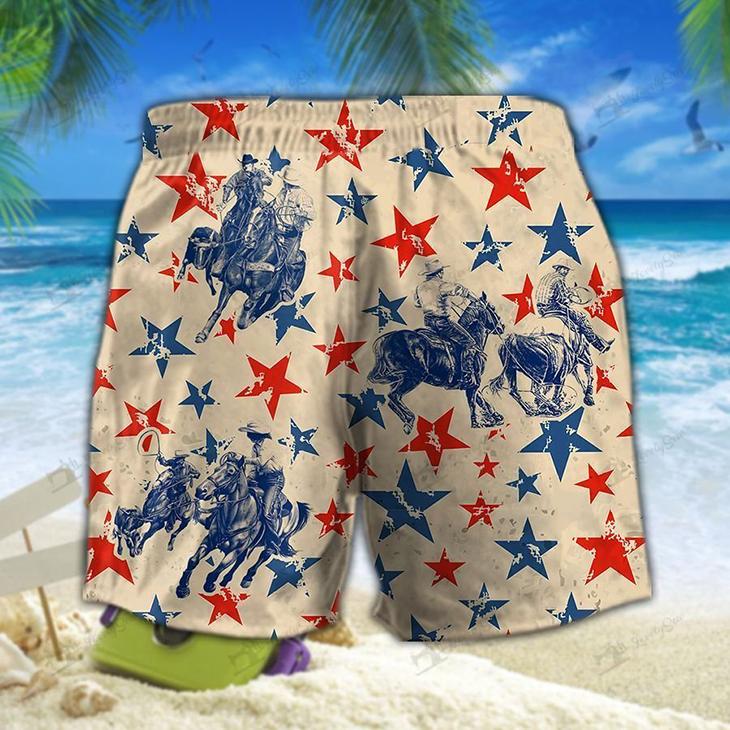 America Team Roping Hawaiian Shirt Short3