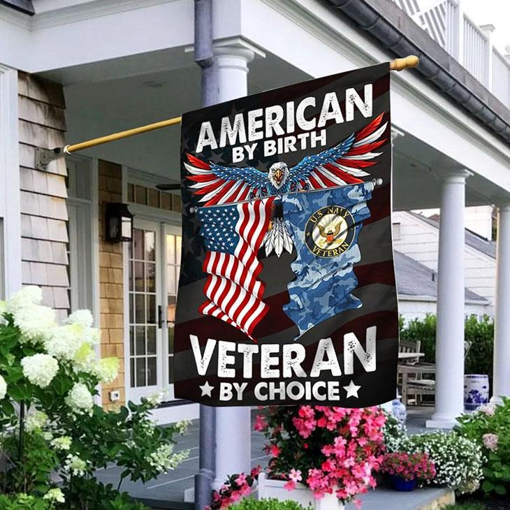 American Eagle Flag By Birth Veteran By Choice Flag
