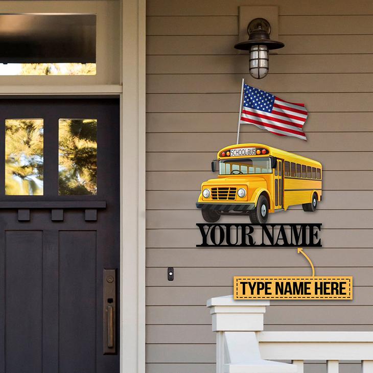 American Flag School Bus Personalized Custom Name Metal Sign1