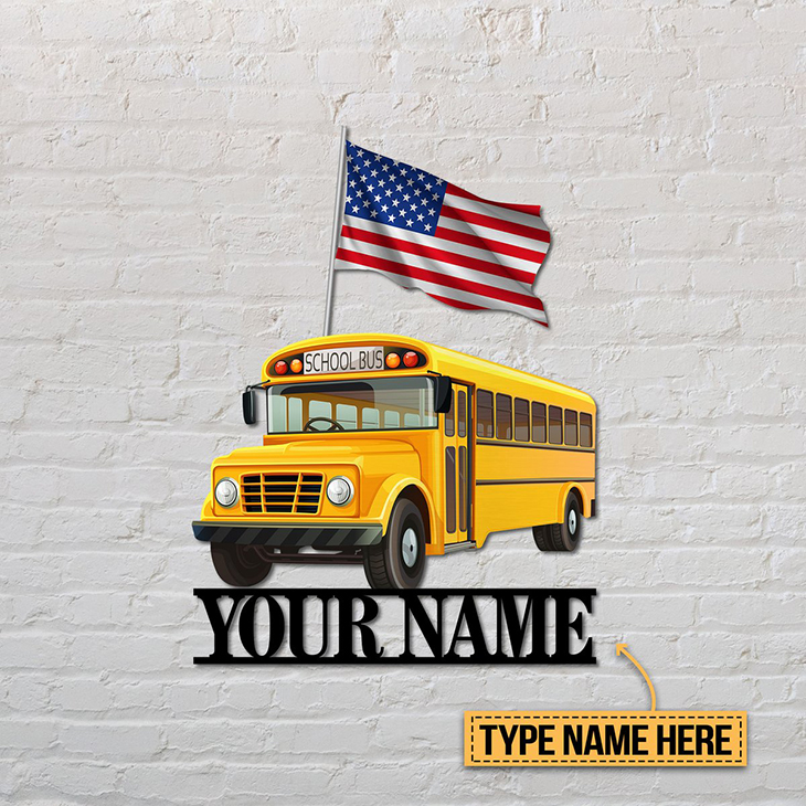 American Flag School Bus Personalized Custom Name Metal Sign3