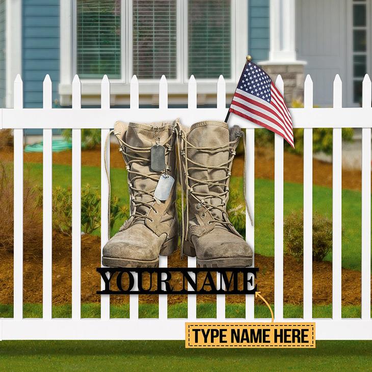 American Flag Veteran Boost Custom Name Metal Sign1