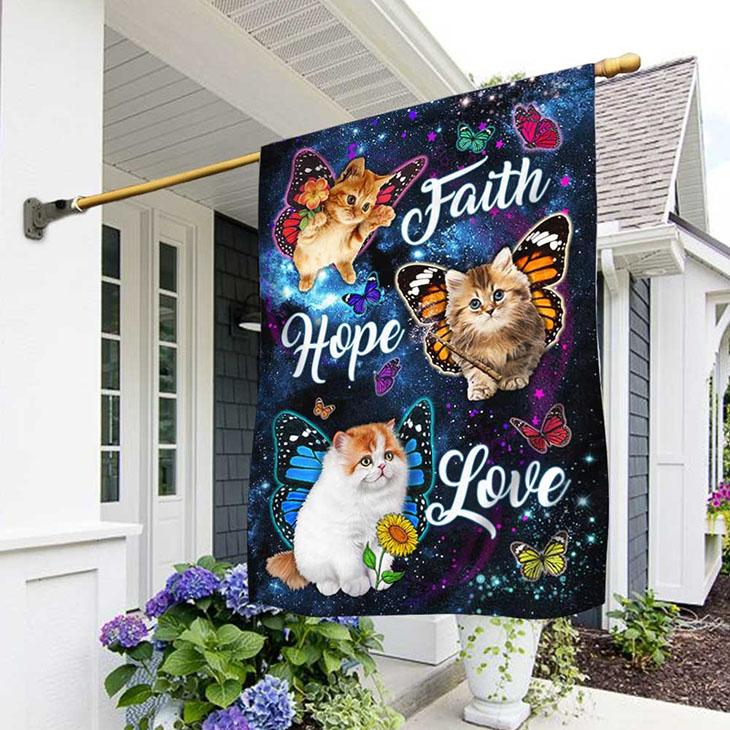 Cat Butterfly Faith Hope Love Flag