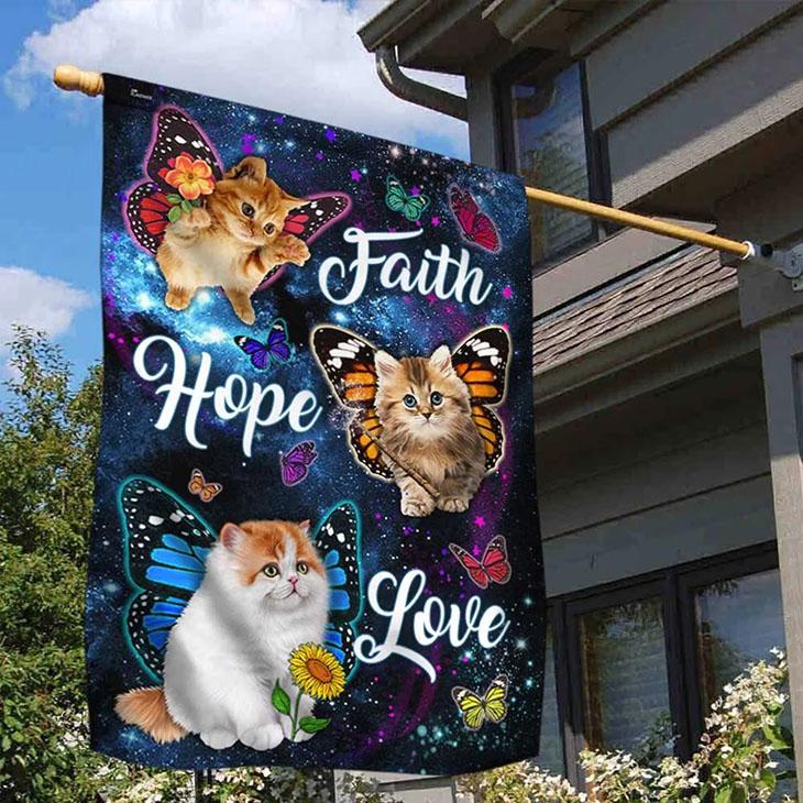 Cat Butterfly Faith Hope Love Flag2