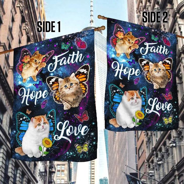 Cat Butterfly Faith Hope Love Flag3