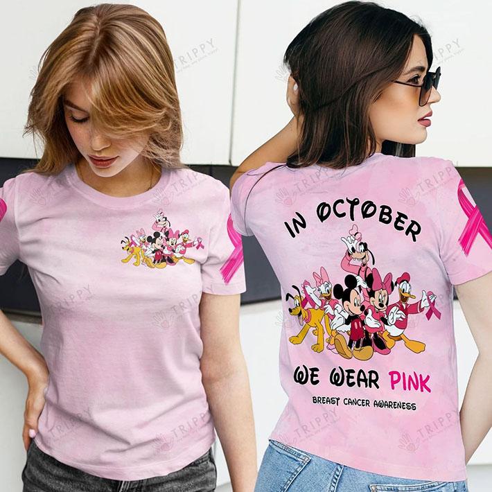 Disney In October We Wear Pink Breast Cancer Awareness 3D Hoodie Shirt1 1