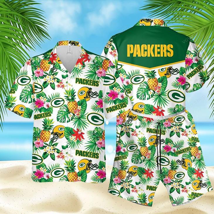 Green Bay Packers Logo Pineapple Hawaiian Shirt Short2 1