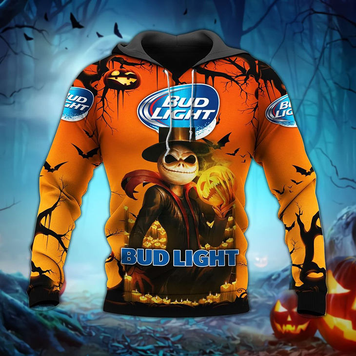Halloween Jack Skellington Bud Light Logo 3D Hoodie, Shirt
