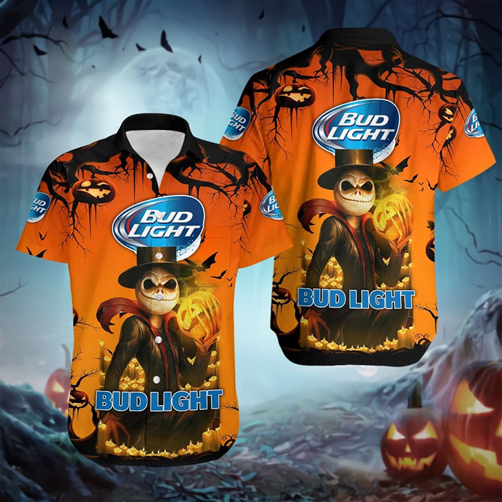 Halloween Jack Skellington Bud Light Logo 3D Hoodie Shirt3