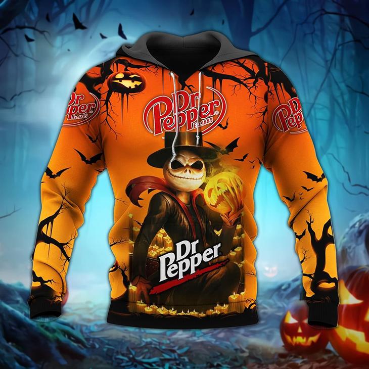 Halloween Jack Skellington Dr Pepper Est 1885 Logo 3D Hoodie Shirt1