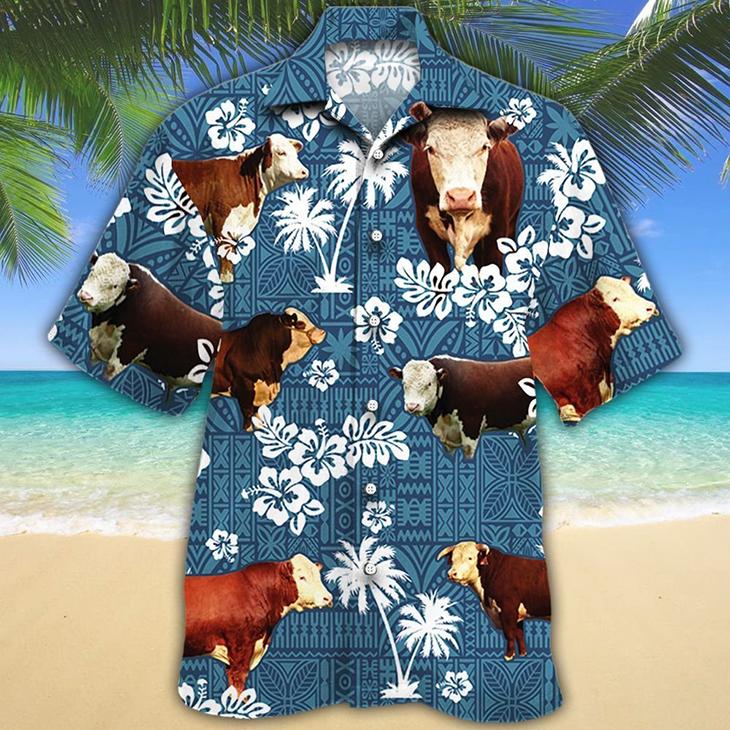Hereford Cattle Lovers Blue Tribal Hawaiian Shirt 1