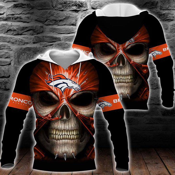 Skull Denver Broncos Logo 3D Hoodie