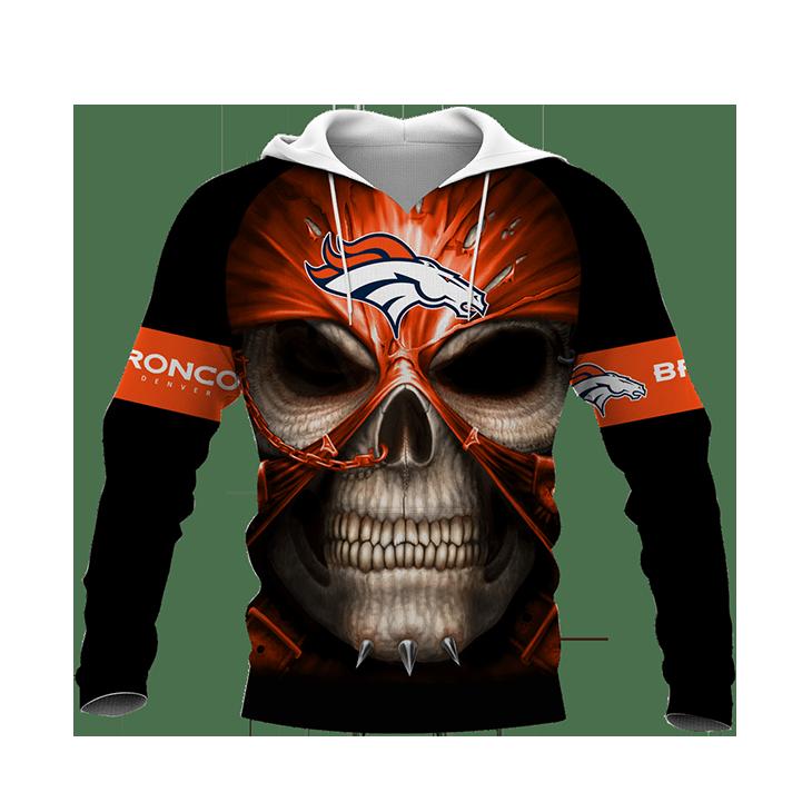 Skull DEnver Broncos Logo 3D Hoodie1
