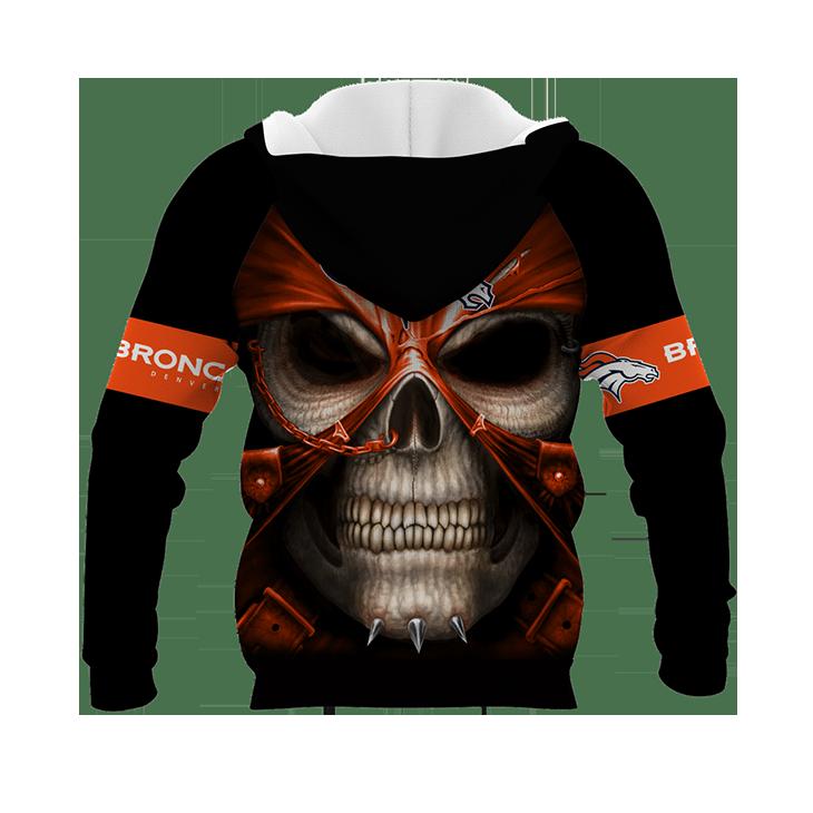 Skull DEnver Broncos Logo 3D Hoodie2 1