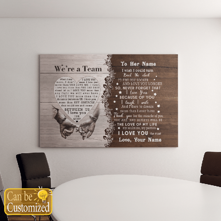 Were A Team Between Us I Love You The Most Custom Name Canvas And Poster